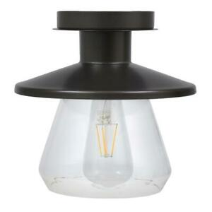 Sylvania Lincoln 4.5 in. 1-Light Antique Black Ceiling Semi-Flushmount