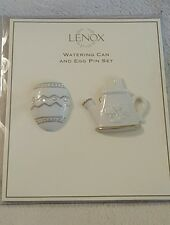 Lenox Watering Can and Easter Egg Lapel pins Brooch Set Brand New Spring jewelry