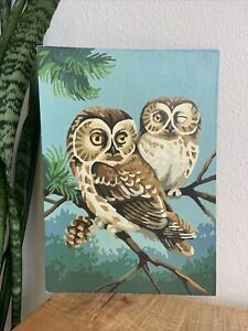 "Vintage Paint By Number Owl Painting 14"" X 10"" Midcentury AWESOME!"