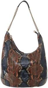 GUCCI Shoulder Bag Hobo SOHO Leather Snakeskin Blue Brown Cream Gold HW