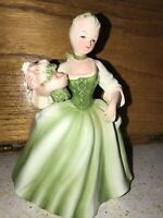 Vintage Colonial Lady Planter Green Dress Roses Inarco Ohio E-2087