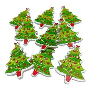 30 WOODEN CHRISTMAS TREE BUTTONS - XMAS - CRAFT - SCRAPBOOK - SEW - CARDMAKING