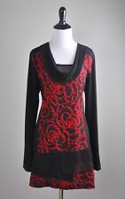 DOLCEZZA $89 Draped Cowl Neck Tiered Multi Textured Tunic Top Size Large