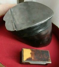 Antique Collectible Georgian Scottish  Hoof Pewter Snuff Mull Box small horn box