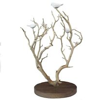"""Hand Carved White Porcelain Birds in Tree Tabletop Figurine Stiles In Clay 18""""H"""