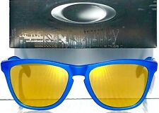 NEW* Oakley Frogskins X-Ray Blue w POLARIZED Galaxy Gold Fire lens Sunglass 9013
