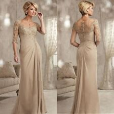 Champagne Mother Of The Bride Groom Dresses Half Sleeve Lace Wedding Formal Gown