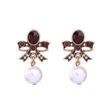 Boucles d'Oreilles Clou Doré Rouge Noeud Papillon Perle Class Mariage Retro BB16