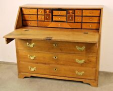 Antique blonde oak Georgian bureau desk magnificent interior brass handles 1780