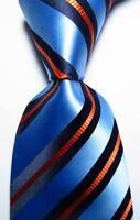 New Classic Striped Sky Blue Black Orange JACQUARD WOVEN Silk Men's Tie Necktie