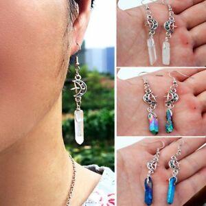 Retro Earrings Dangle Natural Quartz Stone Boho Star Moon Hook Drop Women Gift