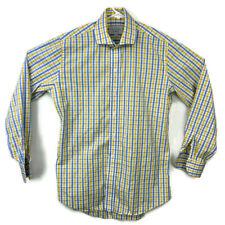 Ledbury Mens 15.5 Blue Yellow Striped Dress Shirt Plaid