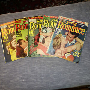 5 YOUNG ROMANCE COMICS #37 #38 #42 #48 #51-1951-1952 (kf)
