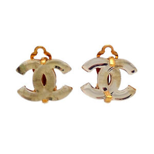 Authentic Vintage Chanel earrings glass CC logo clear white #ea3022