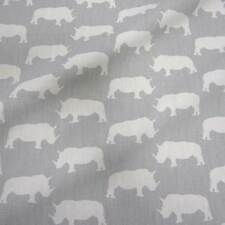 Stoff Meterware Baumwolle Schweden Nashorn grau Rhino weiß Deko Skandinavisch