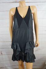 Diesel Womens Black Large Dress, Thin, Deep V Ruffle Bottom Sharp