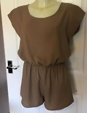 WOMENS PLAYSUIT/JUMPSUIT/ALL IN ONE GLAMOROUS SIZE 10 BEIGE/NUDE SUMMER