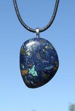 Polished Deep Blue Azurite and Malachite Stone Crystal Pendant Necklace