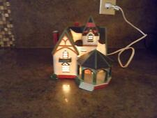 Vintage 1996 LEMAX Lighted TOWN HALL w/ GAZEBO Porcelain Christmas Village