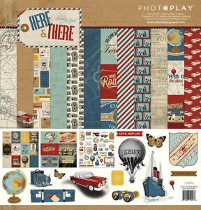 Photo Play Here and There 12x12 Collection Pack Vintage Plane Travel Vacation