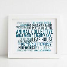 Animal Collective Poster, Greatest Hits, Framed Original Art, Album Lyrics Print