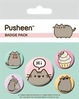 PUSHEEN Badge Pack of 5 x Safety Pin Backed Official Badges PUSHEEN SAYS HI