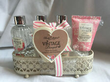 BODY COLLECTION Vintage Bouquet Bath and Body GIFT SET Metal Caddy