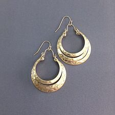 Hammered Gold Finished Half Circle Shape Triple Layer Drop Dangle Hook Earrings
