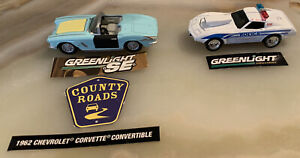 Lot of two Greenlight Corvette s: '81 Police Car & '62 body shop Car.  1:64
