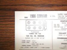 1966 Chevrolet Corvair SIX 110HP Super Turbo Air 164 CI 2x1BBL Tune Up Chart