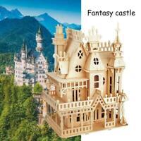 DIY Wooden Doll House Handcraft Miniature Project Kit Kids Castle Gift Z6O2 U0N3