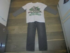 Gymboree Creature Feature gray straight jeans and matching robot shirt size 6