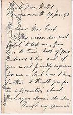 BRITISH GENERAL & AUTHOR SIR EDWARD BRUCE HAMLEY - 1892 AUTOGRAPH LETTER