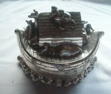 SILVER NOAH'S ARK PIGGY BANK - HEAVY