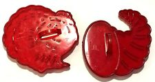 2 VINTAGE HRM CROWN RED PLASTIC COOKIE CUTTERS ~ THANKSGIVING TURKEY CORNUCOPIA