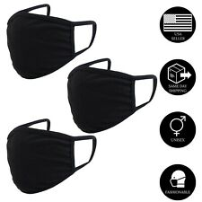 3Pcs x Double Layer Black Cotton Washable Face Mask / Reusable Adult Unisex