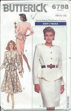 Butterick 6788 Sew Pattern DRESS Very Loose Fitting Blouson Bodice Misses 18-22