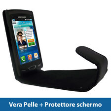 Nero Vera Pelle Custodia per Samsung Wave 2 S8530 Case Cover Protezione