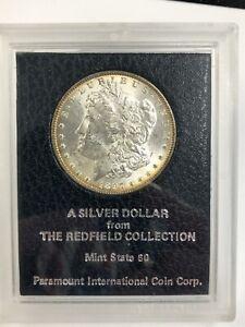 "1897 Morgan Silver Dollar REDFIELD Hoard Paramount Holder ""Mint State 60"""