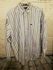 FACONNABLE Mens XL White Blue Brown Striped Cotton Long Sleeve Shirt - Excellent