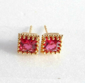Women 7mm Medium Stud Earrings Ruby Red Simulated Diamond 18K Gold Plated UK