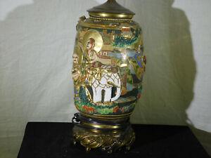 """Satsuma Meiji Era Hand Sculpted Large Vase Lamp Base """"White Elephant"""" """"WORKS"""""""