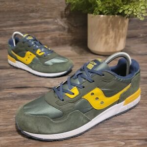 Saucony Shadow 5000 Gray/Yellow Boy Leather w/ Rubber Sole Running Shoes US 5.5