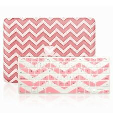 "Matte Chevron PINK Hard Case + Keyboard Cover for Macbook White 13"" A1342"