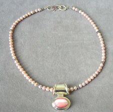 Stunning Fine Hawaiian Pink & Purple Pearls Necklace~925 Pink Cat's Eye Pendant