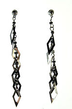 ELEGANT LADIES CHUNKY MULTI LAYER BLACK AND SILVER LONG  EARRINGS (A22)