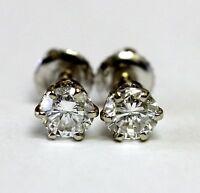 14k white gold 1.00ct New round diamond SI3 J stud earrings estate screwbacks