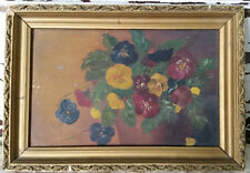 Gorgeous Antique Small Oil Painting Pansies UnSigned Victorian Gold Gesso Frame