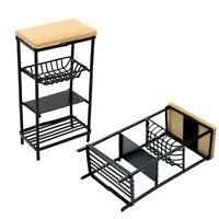 1/12 Black Metal Storage Rack Shelf Dollhouse Miniature Furniture Kitchen O6H4