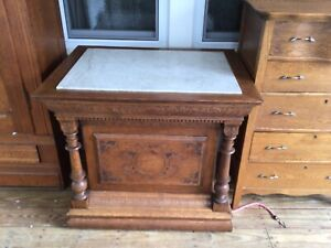 Antique Stand- Marble Top- Oak Pressed Carvings
